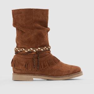 Boots en cuir suédé effet plissé à franges Biara COOLWAY