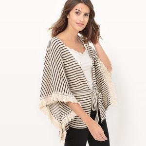 Striped Poncho With Drawstring Waist LE TEMPS DES CERISES