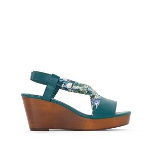 Sandalen met sleehak in hout CASTALUNA