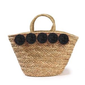 Einkaufskorb aus Stroh, Pompons MADEMOISELLE R