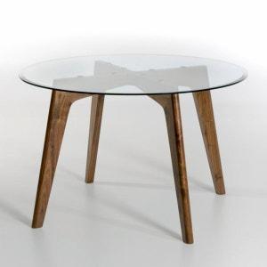 Table ronde verre et noyer Ø130 cm, Kristal AM.PM