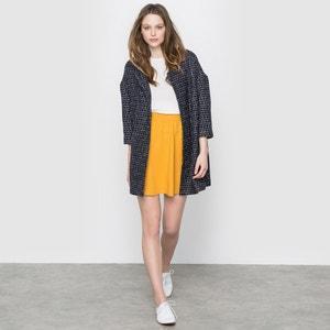 Long Geometric Print Wool Blend Jacket SUNCOO