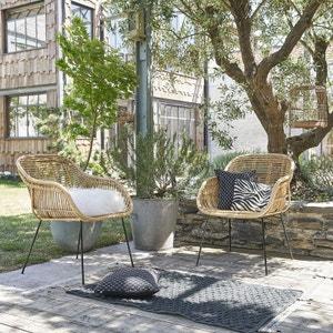 Lot de 2 chaises de jardin en rotin et métal BOIS DESSUS BOIS DESSOUS