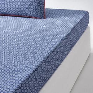 Sábana bajera azul de satén de algodón, KEITAKI La Redoute Interieurs