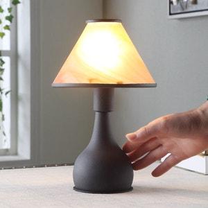 Lampe à poser brun rouille Ellen abat-jour verre LAMPENWELT