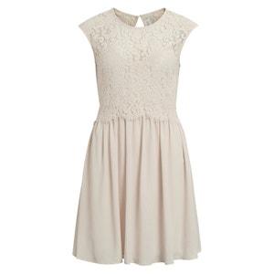 Ärmelloses Kleid, halblang, obere Partie aus Spitze VILA