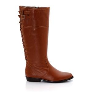 Botas rasas ajustáveis, pele, pé largo CASTALUNA