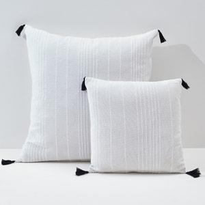 Fodera cuscino o guanciale tinta unita, con pompons, RIAD La Redoute Interieurs