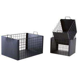Caisses de rangement en métal laqué noir mat (Lot de 3) AUBRY GASPARD