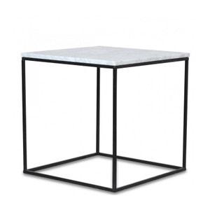 Table Basse Carrée en Métal Noir et Marbre Blanc WADIGA