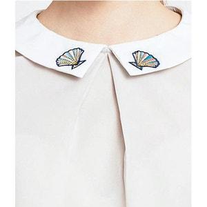 Kurzärmelige Bluse mit Motiv am Kragen MIGLE+ME