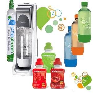 sodastream - machine à gazéifier l'eau avec 1 cylindre et 4 bouteilles (dont 3 colorées) + 3 concentrés - pack sodacoolt SODASTREAM