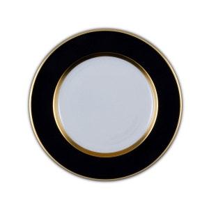 Assiette plate Porcelaine de Limoges décor 26,5 cm PIERROT NOIR et OR SITE COROT