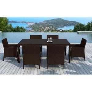 Table et chaises 6 places résine tressée chocolat DECLIKDECO