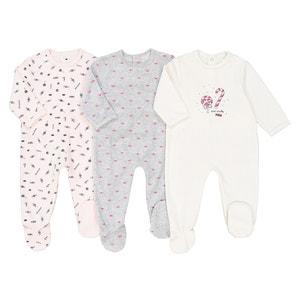 Set van 3 fluwelen pyjama's met snoepenprint 0 mnd - 3 jaar