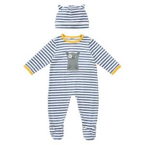 Pyjama rayé pressionné + bonnet 0 mois - 3 ans La Redoute Collections