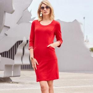Rechte jurk, 3/4 mouwen, milano tricot