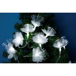 Guirlande de sapin ou décoration de Noël - Fleurs fibres optiques - LED blanc bleu - Intérieur ! NONAME