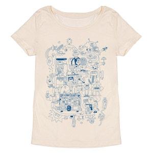 Tee-shirt femme en coton bio beige He Ho MONSIEUR POULET