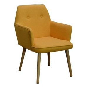 Fauteuil inspiration scandinave tissu couleur safran pieds bois 59x67x82cm OSLO PIER IMPORT