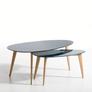 Table basse laquée et hévéa L70 cm, Flashback AM.PM