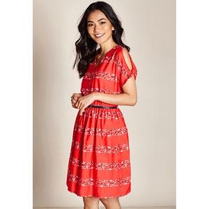 Halflange wijd uitlopende jurk met grafische print YUMI