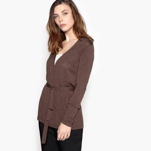 Fine Gauge Knit Tie Front Cardigan ANNE WEYBURN