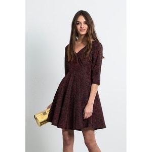 Wijd uitlopende jurk, fantasie motief, 3/4 mouwen, DENA BURDEOS DRESS COMPANIA FANTASTICA