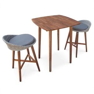 Ensemble table bar Mallorca en bois FSC et résine tressée arrondie, 2 tabourets ALICE S GARDEN