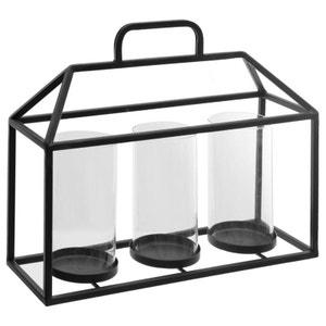 Photophore métal forme cage avec 3 bougeoirs H30cm PIER IMPORT
