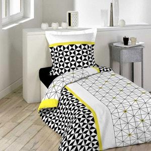 Housse de couette 140x200 Yellowmetric + taie 100% coton DECORATIE