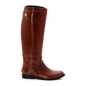 Leather Zip-Up 2cm Heel Knee-High Boots JONAK