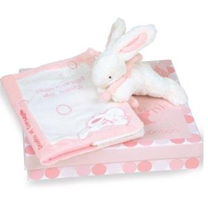 Coffret carnet de santé avec doudou lapin rose DOUDOU ET COMPAGNIE
