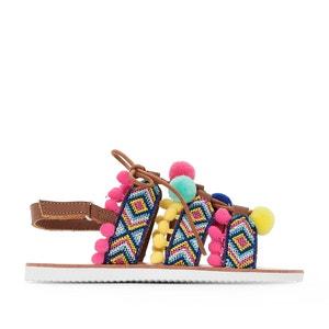 Etnische sandalen met pompons La Redoute Collections