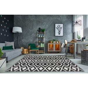 Tapis moderne intérieur et extérieur effet sisal noir et crème Gazania ALLOTAPIS