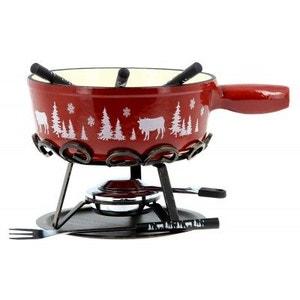 Service à fondue 'alpestre' rouge SABATIER