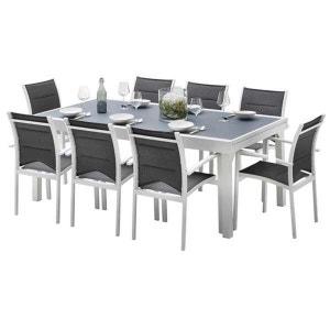 Ensemble table et chaises de jardin MODULO 8 PLACES BLANC/GRIS PERLE WILSA