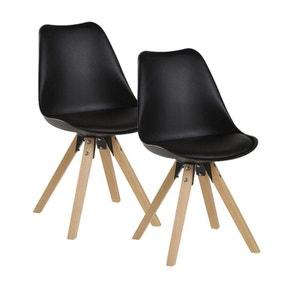 Lot de 2 chaises esprit Scandinave assise PU noir et pieds bois 48x83x56cm TONY PIER IMPORT