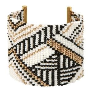 Manchette tissée main en perles à motifs ethniques AMAHLE