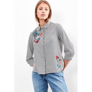 Camisa estampada a rayas con cuello polo S OLIVER