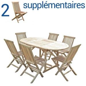 Ensemble salon de jardin en teck SOLO 6 chaises + Bundle 2 chaises C ET L JARDIN