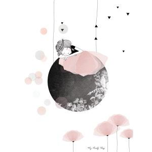 Affiche enfant fillette sur la lune LILIPINSO