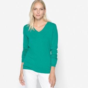 Пуловер с V-образным вырезом, 100% кашемир ANNE WEYBURN