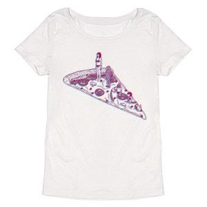 Tee-shirt femme en coton bio blanc Pizza 3D MONSIEUR POULET