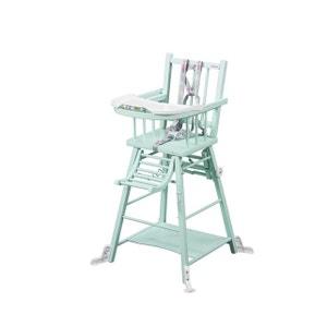Chaise haute Marcel transformable barreaux laqué vert mint COMBELLE COMBELLE
