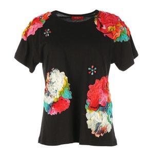 T-shirt con scollo rotondo fantasia a fiori, maniche corte RENE DERHY