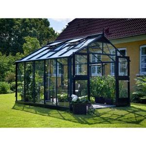 """Serre verre """"Premium"""" - Gris anthracite - 10,9 m² - 3,68 x 2,96 x 2,67 m. HABITAT ET JARDIN"""