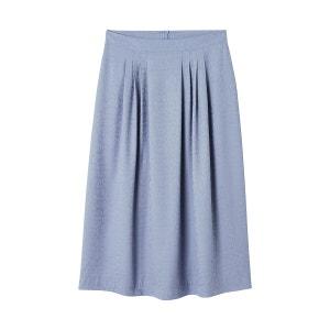 Falda midi con plisados, tejido jacquard con estampado animal