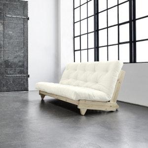 Pack futon coton écru 140x200   banquette fresh bois brut - Terre de Nuit TERRE DE NUIT