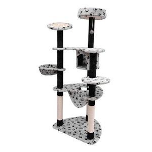 Arbre a chat griffoir grattoir blanc + pattes de chat noir 153 cm - HOMCOM HOMCOM